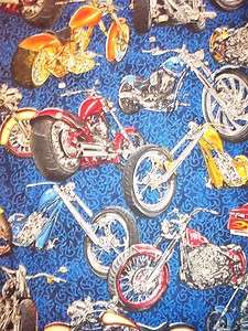 MOTORCYCLE BIKER HARLEY CHOPPER BLUE COTTON FABRIC FQ
