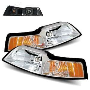 99 04 Ford Mustang Chrome Crystal Housing Headlights