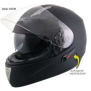 Advanced Dual Visor Matte Black Motorcycle Helmet