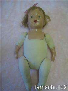 Unmarked 18 Composition Baby Doll With Teeth, Tongue & Mohair Hair