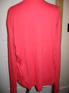 Kate Hill Casual Red Long Sleeve Basic Cotton Crew Neck Tee XL