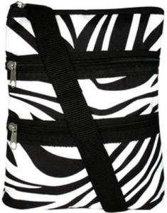 black & white zebra stripe hipster purse teen handbag cross body