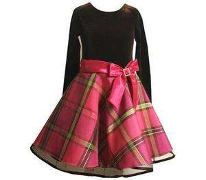 Bonnie Jean Girls Plaid Pink Satin Bow Holiday Party Dress 4