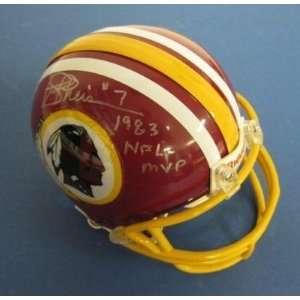Joe Theismann Autographed Mini Helmet   Inscr 1983 MVP JSA