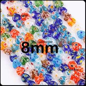 48 Mixed Heart Millefiori Glass Beads finding 8mm D320