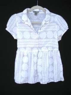 MAPLE Anthropologie Womens White Cotton Short Sleeve Half Button Down
