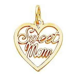 14K Yellow Gold Sweet Mom Heart Charm Jewelry