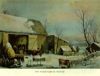 OLD PRINT FARM YARD WINTER COWS CHICKENS DUCKS SNOW