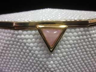 JUDITH LEIBER White Crystal Minaudiere Clutch Handbag