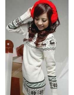 New Soft Women knit Sweater dresses Top Pullover Jumper Snowflake Deer