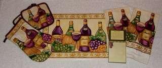 Grapes Merlot Wine Bottles Vineyard Towels Calendar Pot Holders Mitt