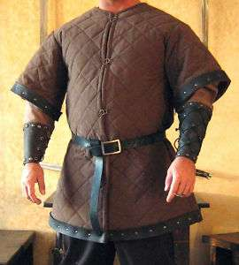 Medieval Armor Long Gambeson Deluxe with Leather Trims