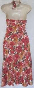Classy orange floral ANN TAYLOR Loft versatile halter dress size 10