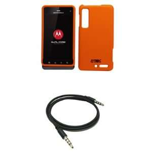 EMPIRE Orange Rubberized Hard Case Cover + 3.5mm Male to