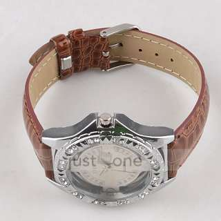 Fashion Unisex Ladies Crystal Quartz Wrist Watch PU Leather Band Brown