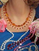 Vintage GLASS Necklaces Czechoslovakia Rhinestones RED Pink BLACK +*NR