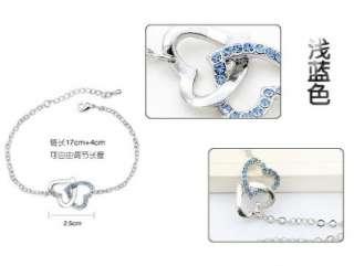 SPCB001 Fashion I Love You Blue & Silver Heart Charm Austrian Crystal