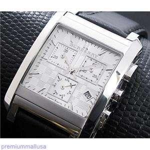 BU1564 Burberry men watch black leather silver steel chrono $495 new
