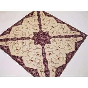 Handmade India Table Linen Topper Square Burgundy Gold Net