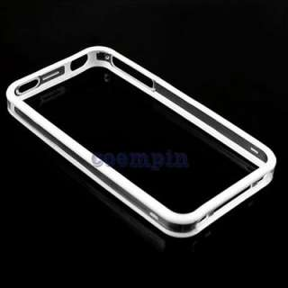 Apple iPhone 4G 4S White Clear TPU Bumper Frame Skin Cover Case