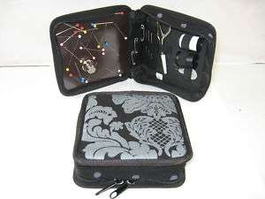 MAGNETIC Sewing Kit. Scissors Etc SILVER DAMASK 930KB
