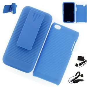 Apple iPod Touch 4G HOLSTER CASE BLUE + WALL CHARGER + CAR CHARGER