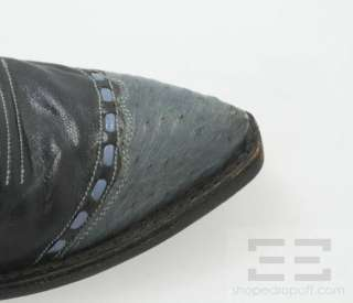 Lucchese Black & Blue Leather Western Boots Size 8B