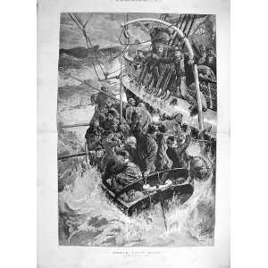 1887 THEIR ONLY BOAT SHIP WRECK LIFE BOAT SEA FINE ART Home & Kitchen