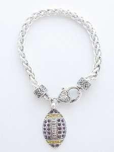 Football Purple & Yellow Crystal Bracelet Jewelry LSU Tigers