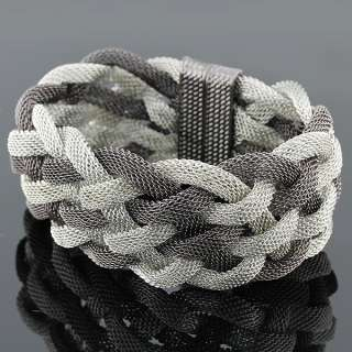 Fine Stainless Steel Two Tone Mesh Womens Bracelet
