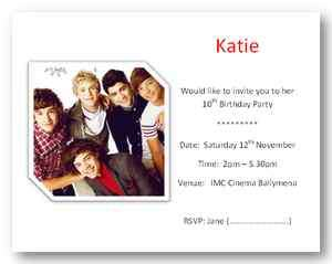 10 Justin Bieber, JLS & One Direction Party Invitations