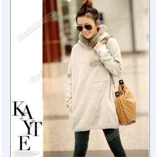 New Fashion Ladies Long Sleeve Loose Sports Fleeces Fur Collar Hoodie