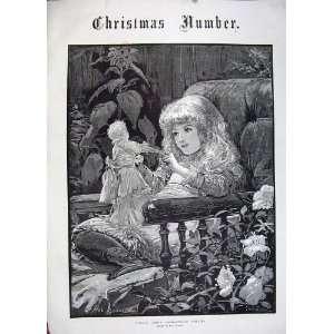 Christmas 1883 Little Girl Dolly Flowers Ludlow Art