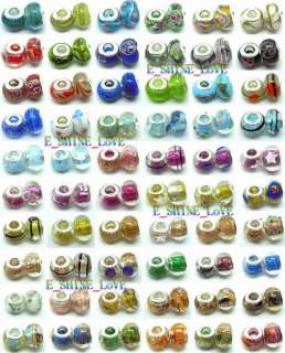 Title Glass Lampwork Bulk Lots 60 Mixed Beads Fit Bracelet+A Free