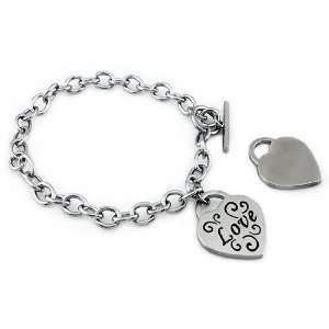 Stainless Steel Ladies Love Heart Charm Bracelet Jewelry