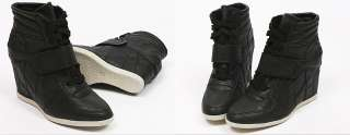 Womens Black Strap High Top Sneakers Wedge Heel Shoes US 5 8 / Lace