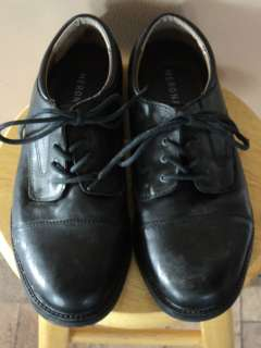 MENS MERONA SIZE 11 BLACK LEATHER LACE UP DRESS SHOES EUC