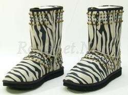 Authentic $595 UGG & JIMMY CHOO studded zebra KAIA boots 41