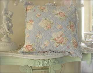 Throw Toss Bed Pillow Cottage Country Blue Rag Shabby Pink & Red Roses