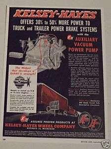 1949 KELSEY HAYES WHEEL COBRAKE SYSTEMS AD