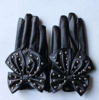 Black Rivets and Butterfly Leather Gloves Lady Gaga