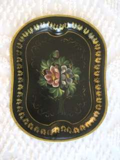 Antique Kidney Shape Heavy Hand Painted Tole Tray  Floral Artwork