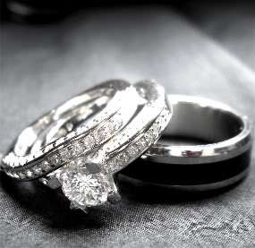 His and Hers STERLING SILVER and STAINLESS STEEL black wedding bridal