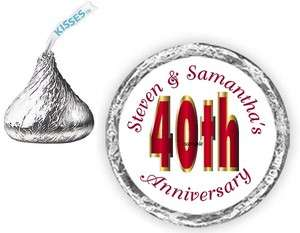 108 40th Anniversary Candy Kiss kisses Wrappers Labels Personalized