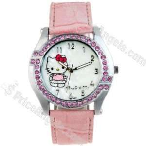 Hello Kitty Style Crystal inlaid Leather Band Wrist Watch