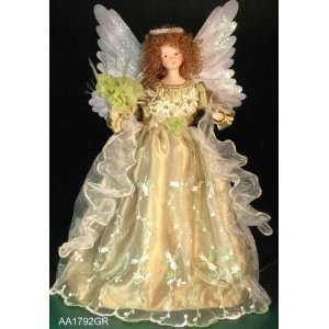 Animated Green Fiber Optic Angel Christmas Tree Topper 18