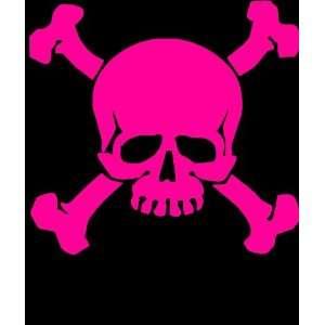 Skull and crossbones biker skater 6 pink Vinyl Decal Sticker
