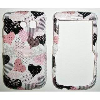 Black and Pink Dotted Heart on White Snap on Hard Skin Shell Protector