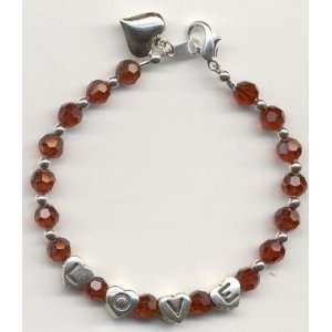 Siam Swarovski Crystal Love Bracelet with Heart Charm