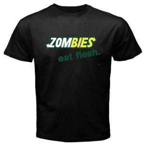 Zombie Eat Flesh Logo New Black T shirt Size M Free